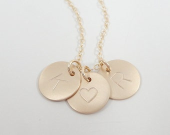 "Initial Necklace in Sterling silver, Gold filled or Rose gold  - 1/2"" Initial Discs - Personalized Hand Stamped Custom Jewelry"