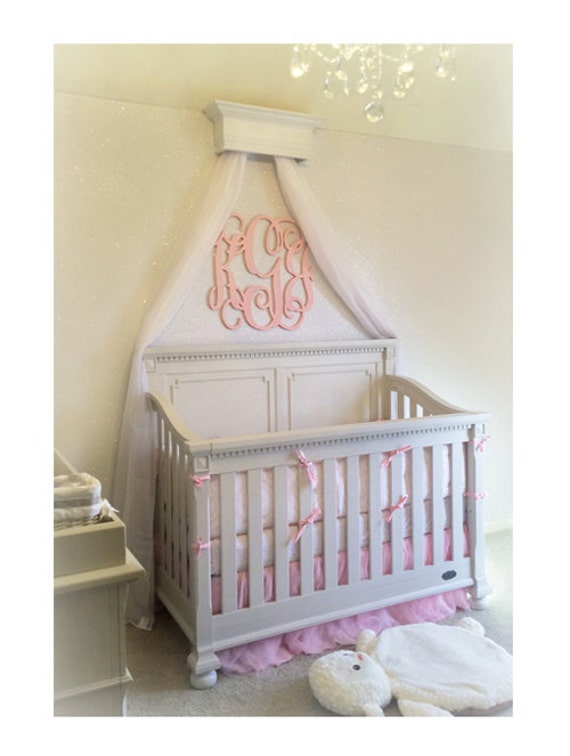 Bed crown crib crown canopy furniture nursery by for Nursery crown canopy