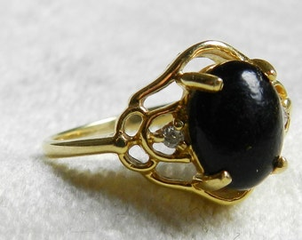 Black Coral Ring Maui Genuine Black Coral Alternative Engagement Ring 14K Gold Vintage Coral Diamond Ring Resort Beach