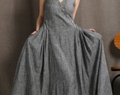 Gray Linen Maxi Dress - Summer Sleeveless Grey Marl Long Loose-Fitting Plus Size Womens Clothing C418