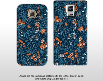 Vintage floral Samsung Galaxy S7 S6 Edge S5 & Note 4  5 Blue blooms flora pattern with beetles phone case samsung s4 s3 FP089