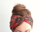 Floral turban jersey twist headband twisted stretchy yoga turband brown red head wrap bohemian gipsy jersey headband beach boho summer