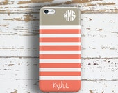 Gift for her Monogrammed iPhone 6 plus case, Coral iPhone 6s plus case, Personalized Iphone 4s case, Nautical Iphone 4 case White gray (1168