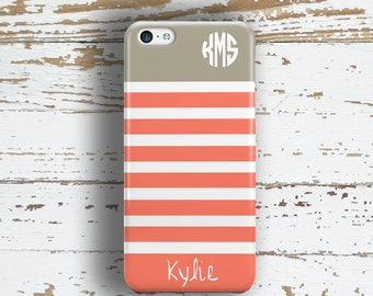Gift for teen girls, Monogram phone case, Coral Personalized Nautical, White gray, Fits iPhone 4/4s 5/5s 6/6s 7 8 5c SE X and Plus (1168)