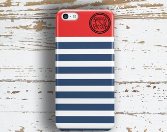 Preppy phone case, Nautical Personalised Striped Tech fashion, Navy blue coral red, Fits iPhone 4/4s 5/5s 6/6s 7 8 5c SE X and Plus (9871)