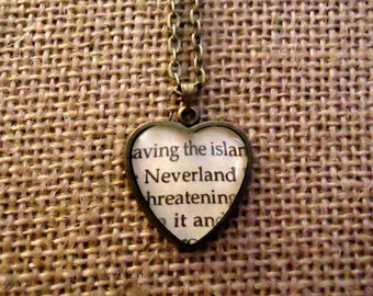 Neverland Book Page Necklace - Peter Pan