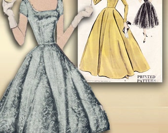 1950s Dress Pattern Vogue 9280 Elegant Tea Length Evening Dress or Floor Length Gown Bust 34