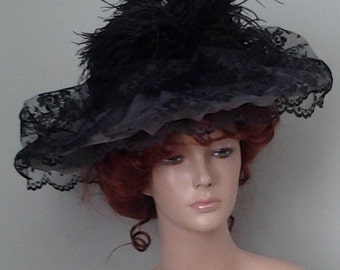 Ladies' Black Victorian/Edwardian Style Wide Brimmed Hat