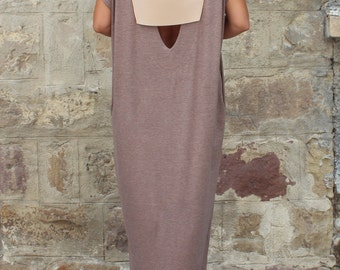 Backless Caftan Dress, Mocha Oversized Dress, Backless Dress , Maxi Dress , Sleeveless dress , Open back dress