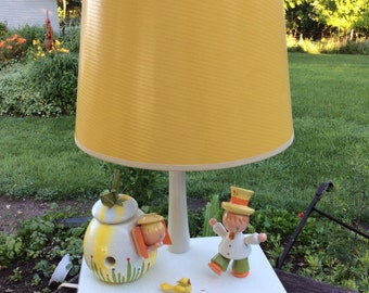 Vintage Nursery Plastics Wooden Lamp with Night Light Nice Irmi