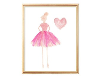 Ballerina Gift, Ballerina Room Decor, Ballerina Girls Room, Ballerina Art, Ballet Print, Ballet Class, Dance Teacher Gift, Ballerina Decor