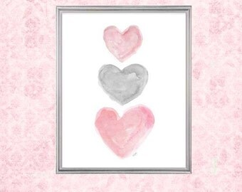Pink and Gray Girls Decor, 8x10 Watercolor, Pink and Gray Decor, Pink and Gray Art, Pink and Gray Watercolor, Pink and Gray Nursery Artwork