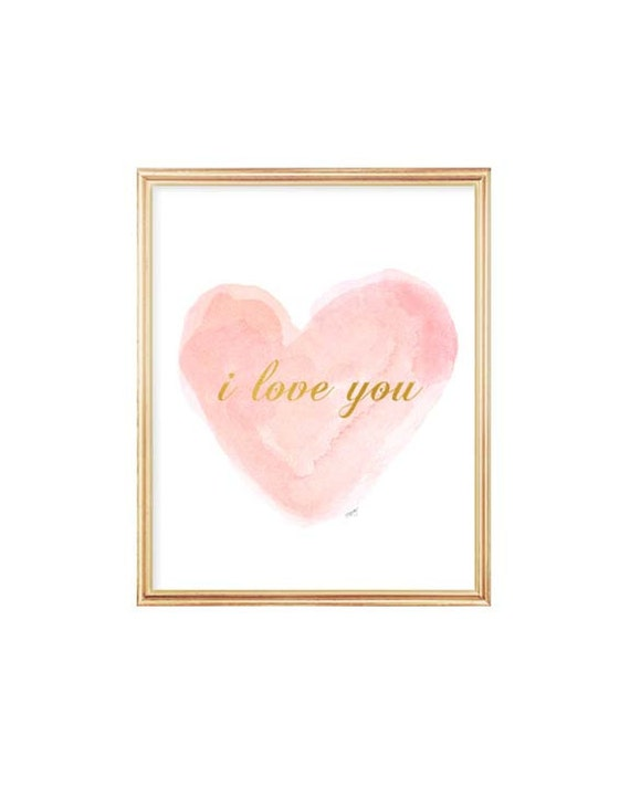 I Love You Nursery Print in Blush and Gold, 8x10