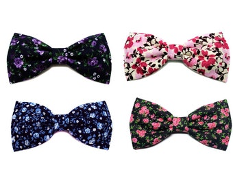Mini Hair Bow, Floral Hair Bow, Small Flower Hair Clip Bow, Small Hair Bow for Newborn, Baby Girl, Adult- Flower Print Hair Bow