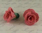 Dainty Flowers pair - polymer clay bead pair - salmon