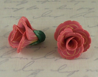 Flower beads 20mm - polymer clay bead pair - salmon