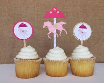 Merry-Go-Round, Carousel Horse Pink and Gold Cupcake toppers (set of 12)