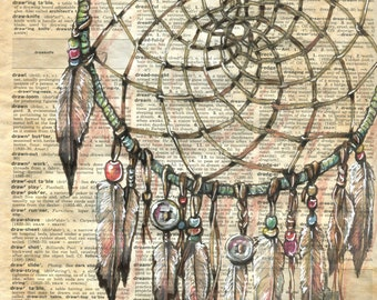 PRINT:  Dream Catcher Mixed Media Drawing on Dictionary Page