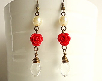 Red Rose Earrings, Scarlet Red Earrings, Teardrop crystal earrings, Pearl earrings, Dangle earrings, Bridesmaids gift, valentine' s gift