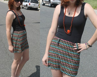 90s Rainbow Floral Striped Mini Skirt (With Belt Loops)