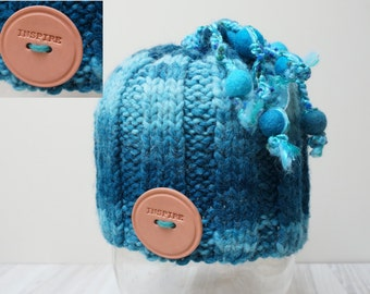 Hat beanie beret ombre dread cap one size knit variagated striped chunky skullcap handmade Felt wool balls teal turquoise blue warm pom pom