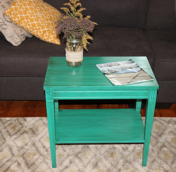 Vintage Turquoise Aqua Green Side Table Coffee Table By Ladygucci