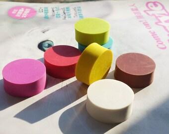 Round Rubber Block - DIY Rubber Stamp - Diameter 2.5cm - 7 Colors can choose