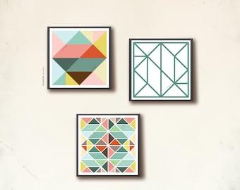 Scandinavian Poster Set II. Three 20 x 20cm geometric art prints, affiches scandinaves. Tangram squares, by TANGRAMartworks