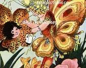 "Little Girl's Room Print ""Princess Raindrop"", Fairy Paints Flowers RESTORED Vintage Art  #231"
