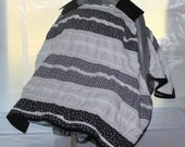 Car Seat Canopy - Black and White Shabby Chic