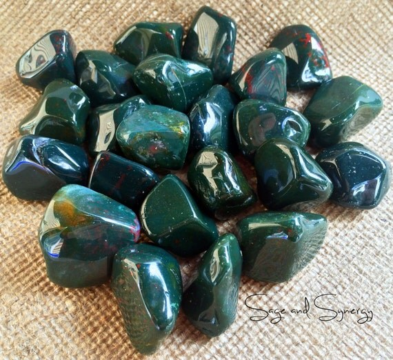 Tumbled Bloodstone Polished Gemstone Crystal Healing Wicca Reiki Energy Healing Dark Green Blood Ancestor Connection