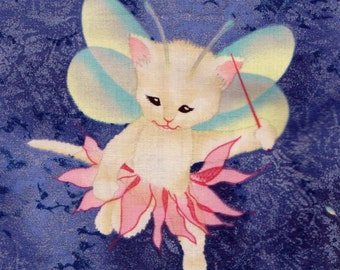 Pixie Angel Fairy Kitty Cats on BLUE Fabric Micheal Miller Retired M.E. Hordyszynski FQ