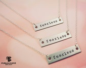 Fearless Bar Necklace, Motivational Jewelry, Inspirational Necklace, Fearless Necklace, Handstamped, Be Fearless, Fitness Jewelry, BJJ, MMA