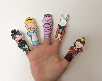 Alice in Wonderland Paper Finger Puppets By Curmilla, Printable PDF, Alice, Cheshire Cat, Mad Hatter, Queen of Heart, White Rabbit
