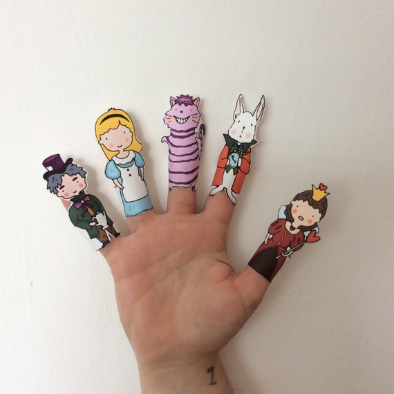Alice in Wonderland Paper Finger Puppets