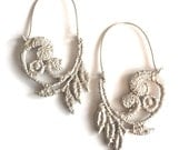 Hoop Earrings - Cast Lace - Vine Pattern - Sterling Silver
