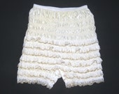VINTAGE Ivory Gold Ruffle Lace Square Dance PETTIPANTS Lingerie Bloomer Pants L/XL Burlesque Edwardian Victorian PinUp Can Can Sissy Cosplay