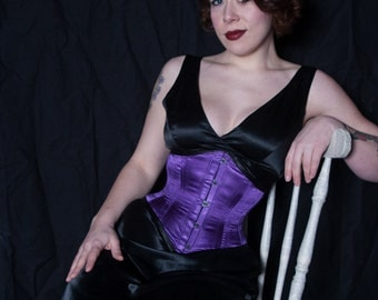 Purple and Black Satin Coutil Underbust Corset