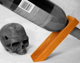 Wine stand, gravity defying wine bottle holder, magic wine rack, balance wood wine stand, winerack, bottle balance, wood decor, mahogany