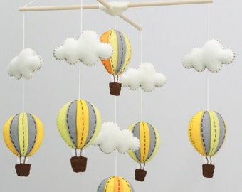yellow and grey hot air balloons baby mobile - baby mobile