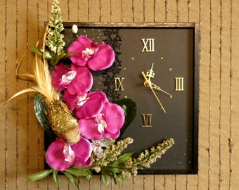 Modern Wall Clock, Contemporary Home Decor Wall Art, Unique Artificial Purple Flower, Birthday Anniversary Gift, Nchanted Gifts
