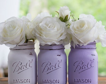 Lavender Painted and Distressed Mason Jars - Wedding Centerpiece, Bridal and Baby Showers, Home Decor, Vases
