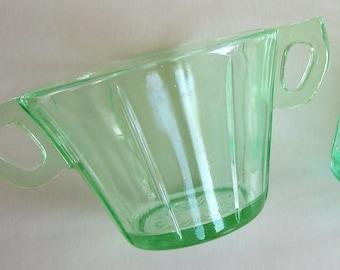 Sugar Creamer Depression Green Vaseline Art Deco