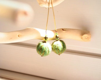 Green felted earrings