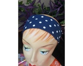 White Polkadot Headband - 100% Cotton - Navy Blue
