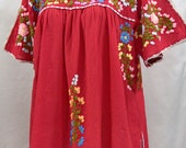 """Mexican Blouse XL: """"Lijera Libre"""" by Siren in Tomato Red with Multi Color Embroidery"""