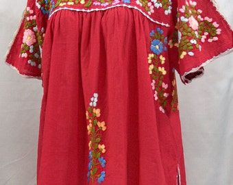 "Mexican Blouse XL: ""Lijera Libre"" by Siren in Tomato Red with Multi Color Embroidery"