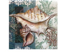 Decoupage Napkins SHELLS Of The SEA Ocean Seashells Paper Napkins 2pcs(two) Bev Size Napkins Crafts Blue-Green White Shells Decoupage Crafts