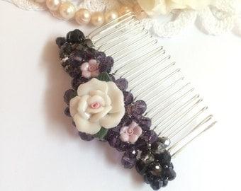 Purple hair comb, hair accessories, boho hair comb, art deco hair comb, hair comb vintage inspired, flower hair comb, handmade hair comb