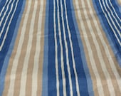 """Textured Striped Cotton Upholstery Fabric 2 Plus Yards Vintage Barkcloth Like Tan and Blue Organic Stripes Stain Resistant 54"""" x 82"""""""